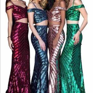Sherri Hill copper size 6 style 51934 sequin dress